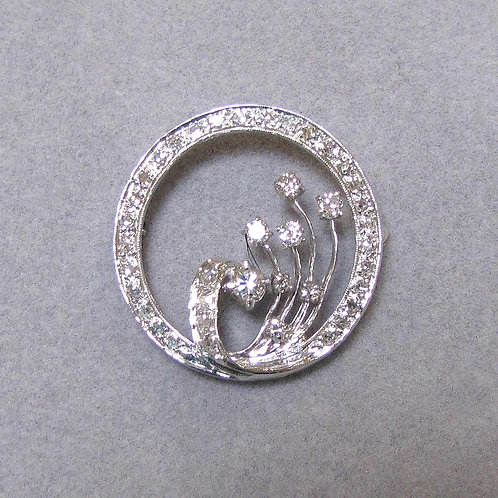 Fancy White Gold and Diamond Circle Pin