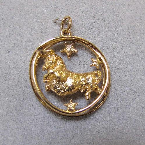 14K Taurus Zodiac Charm, Signed Ruser