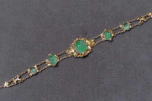 Victorian Cabochon Emerald Bracelet