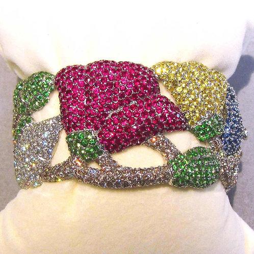 Elaborate 18K White Gold Diamond and Multi-Gemstone Hinged Bangle Bracelet