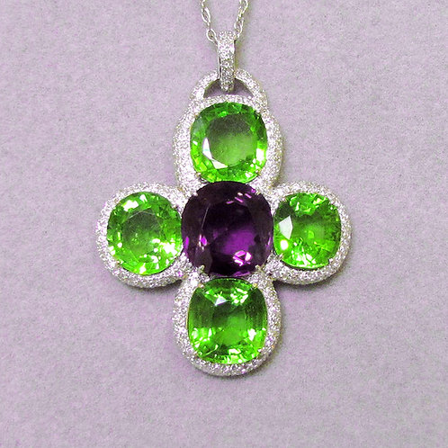Large 18K White Gold Peridot and Amethyst Cross Pendant