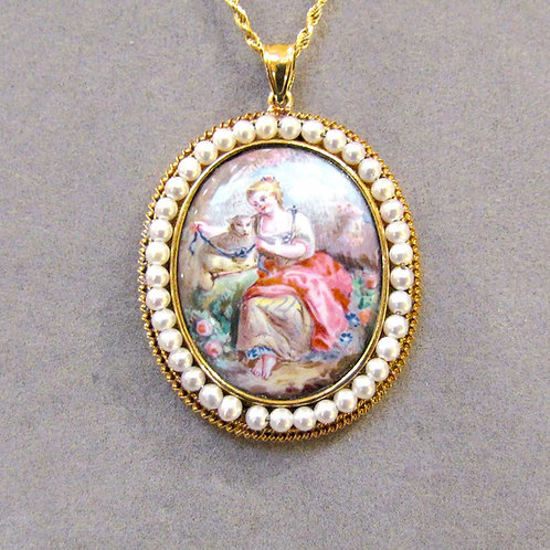Antique 14K Viennese Enamel Pendant with Pearls