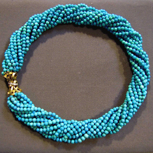 Turquoise Bead Torsade Necklace with 14K Diamond Clasp