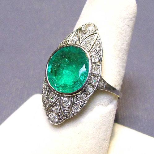Antique Edwardian 14K Emerald and Diamond Ring