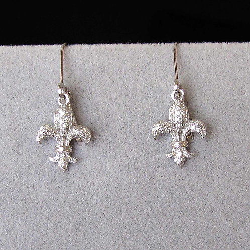 Petite White Gold and Diamond Fleur De Lis Drop Earrings