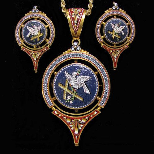 Fine 19th Century Italian Micromosaic Pin/Pendant and Earring Set