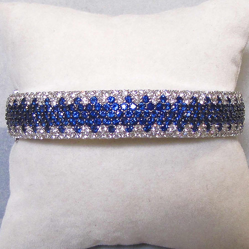18K White Gold Diamond and Blue Sapphire Hinged Bangle Bracelet