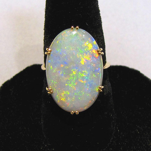 18K Large Oval Opal Ring