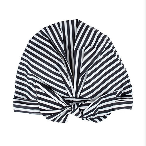 LUXE SHOWER CAP- BLACK AND WHITE STRIPED