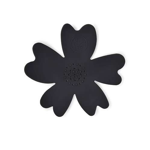 BLACK SILICONE FLOWER SOAP DISH