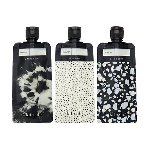 Refillable Travel Pouch 3pc set - Black & Ivory