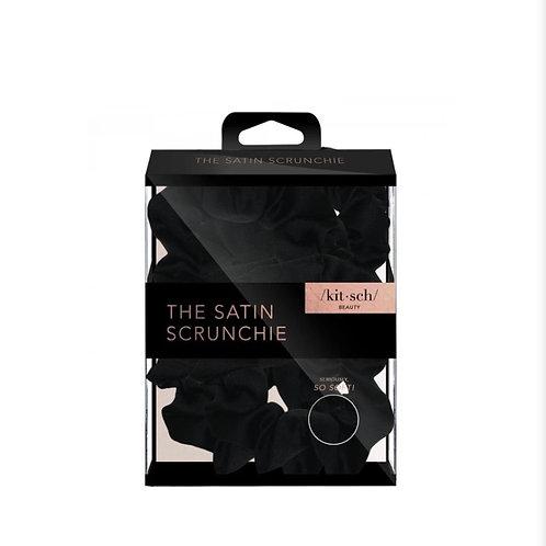 SATIN SLEEP SCRUNCHIES - 5 PACK BLACK