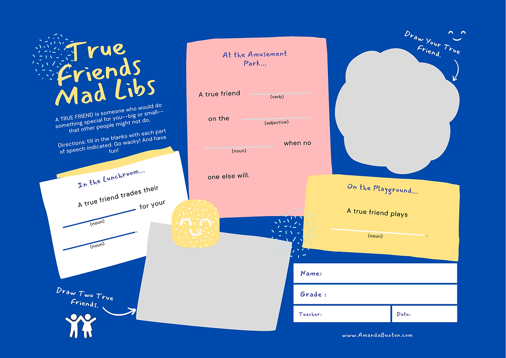 A printable mad lips game for kids grades second to fifth for exploring how to recognize a true friend.