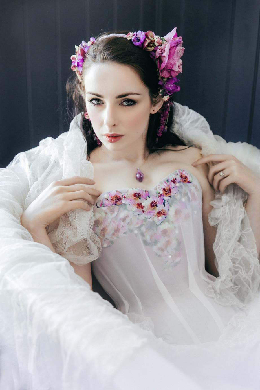 Moody Corsetry Spring Bride - Model/Headdress/MUA: Alivya V Free (c)2016 Sarah Ann Wright Photography