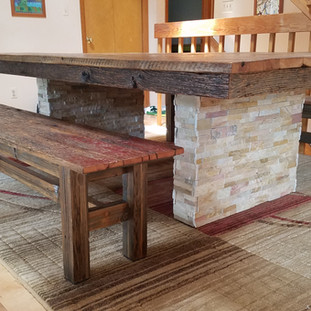 Reclaimed Barnwood Dining Table and Benches
