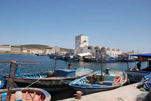 Fishing boats in a traditional port in north eastern Tunisia