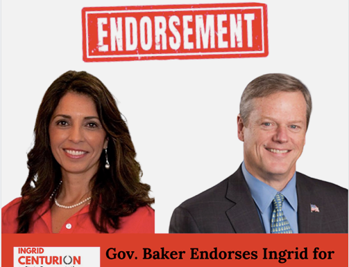 Honored to have Governor Baker endorse me.  I will work with everyone.