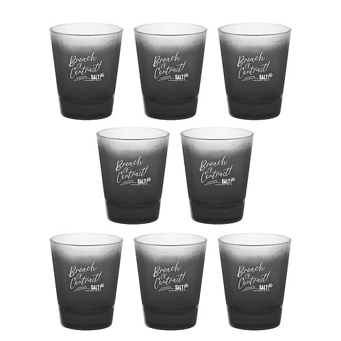 """Breach of Contract!"" Set of 8 Black Frosted Shot Glasses"