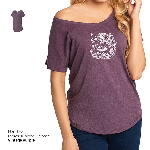 "Triblend ""Feed Your Good Wolf"" Dolman Tee"