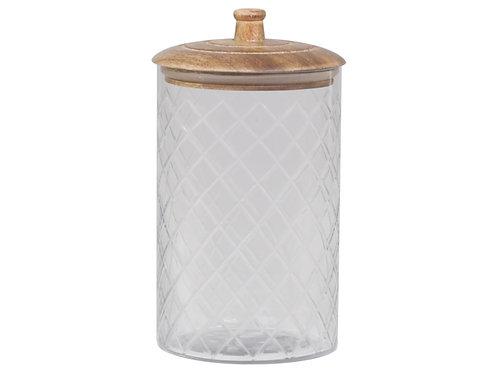 Glass & Mango Wood Canister - Medium