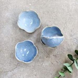Blue scalloped dish