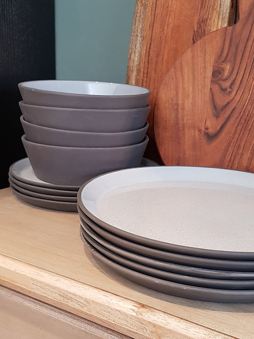 Charcoal stoneware dinner service