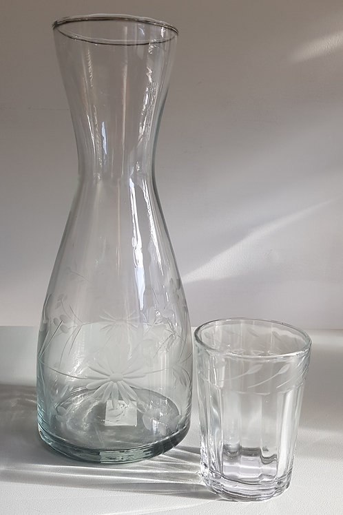 Etched Flowers Carafe
