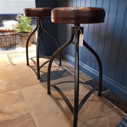Cooper leather & metal adjustable height bar stool