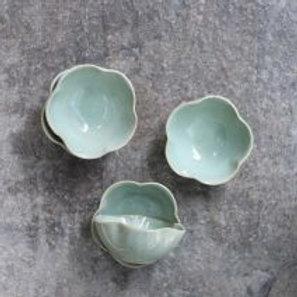 Green scalloped dish