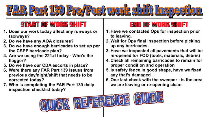 Pre post shift 139 quick refernce guide
