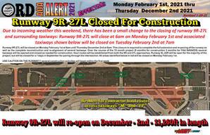 AOA Alert Closing of Runway 9R-27L