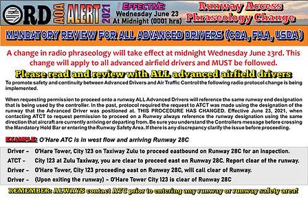 AOA Alert ATC Runway Access Procedure Ch