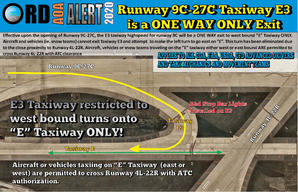 AOA Alert Taxiway E3 One way Taxi ONLY.j