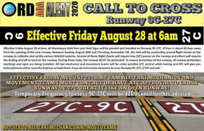 AOA Alert Call to Cross Runway 9C-27C Ta