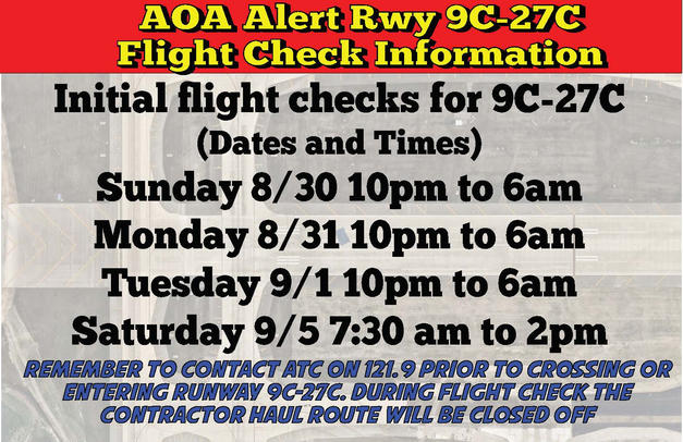 Emergency AOA Alert Runway 9C-27C Hold B