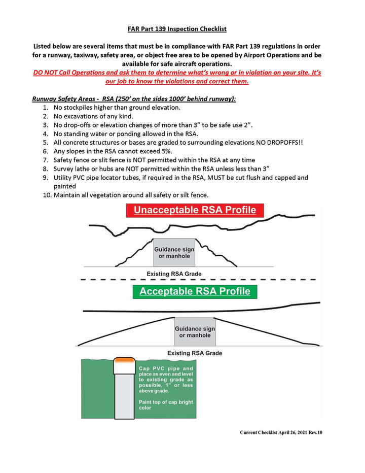 FAR 139 inspection checklist and narrati