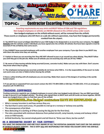 ORD Safety Talk 012 Special Escorting Pr