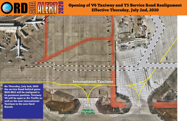 AOA Alert Opening of V6 Taxiway and T5 S