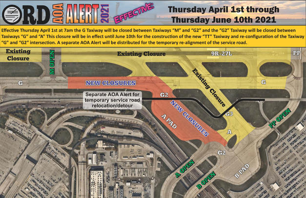 AOA Alert G and G2 Taxiway Closure April