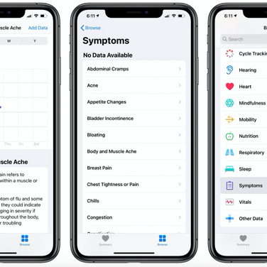 Apple adds Symptoms to Health app as part of iOS 13.6 Update
