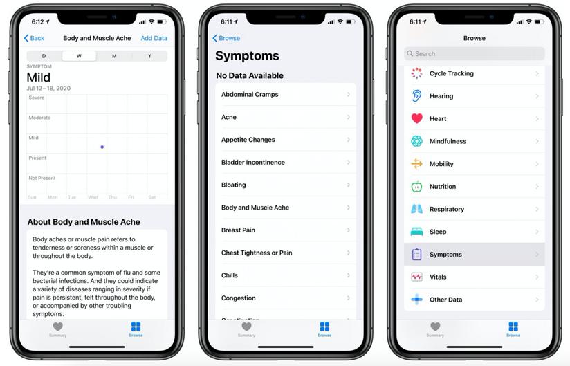 Apple adds Symptoms to Health app as part of iOS 13.6 Update