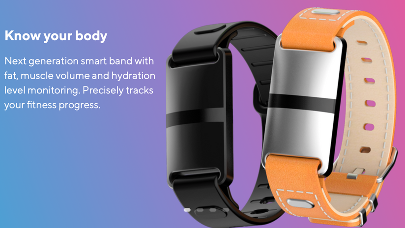 Aura Band : Bioimpedance analysis, activity tracking and heart rate monitoring