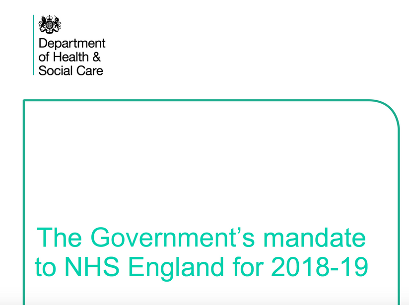 Jeremy Hunt : The Government's mandate to NHS England for 2018-19