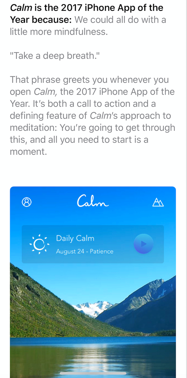 Calm : iPhone App of the Year 2017