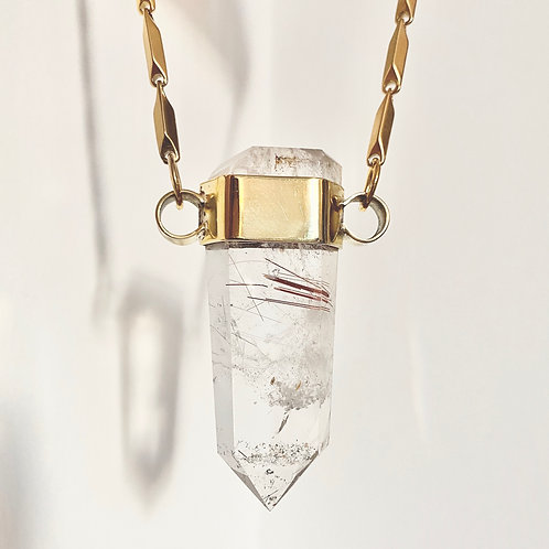 RUTILATED QUARTZ SET IN BRASS
