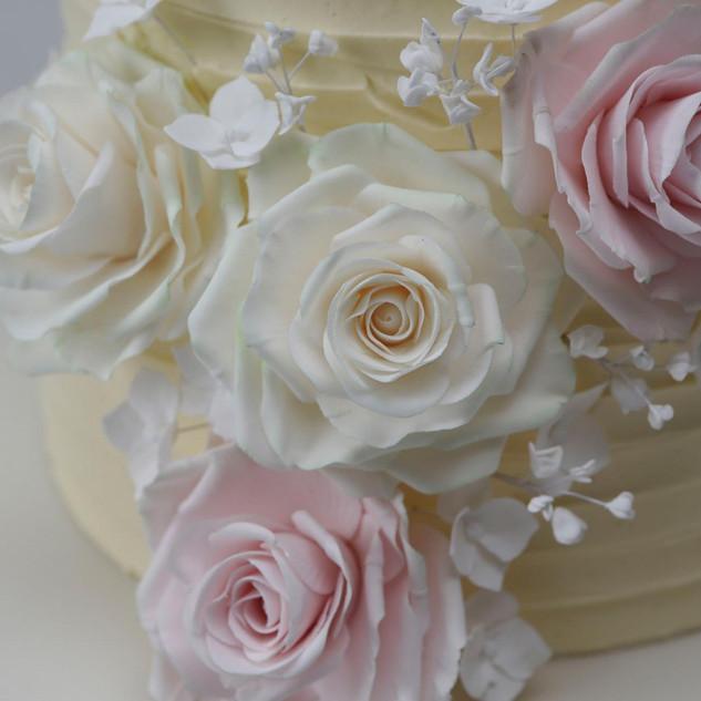 Sugar flower arrangement close up.