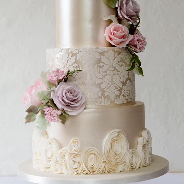 Shabby Chique Sugarpaste wedding cake.
