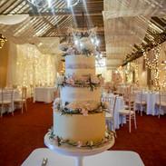 Buttercream wedding cake set up at Larchfield Estate, Hillsborough.