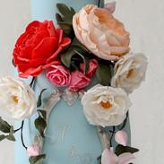 Fuschia spray roses.