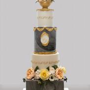 Very elegant 4 tier sugarpaste wedding cake.